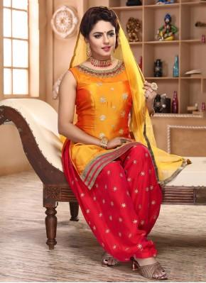 Excellent Yellow Festival Patiala Suit