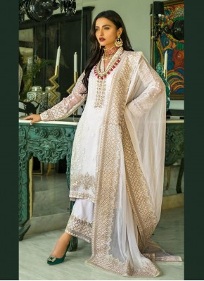 Exceptional Embroidered Faux Georgette Cream Designer Pakistani Salwar Suit