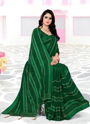 Exceptional Swarovski Green Georgette Satin Trendy Saree