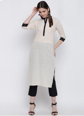 Exciting Cotton Off White Plain Party Wear Kurti