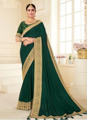 Exciting Green Patch Border Vichitra Silk Trendy Saree