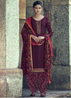 Exciting Resham Purple Faux Crepe Salwar Kameez