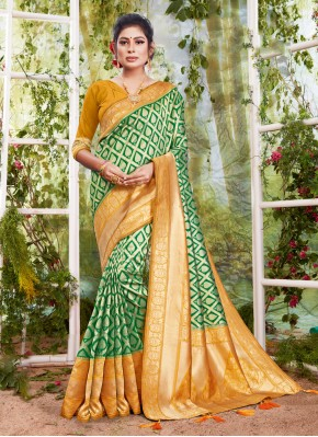 Exciting Sea Green Ceremonial Traditional Saree
