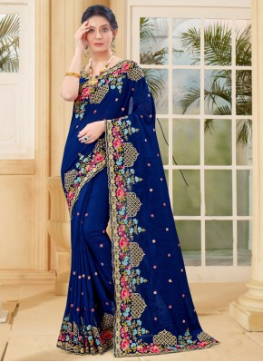 Exciting Vichitra Silk Embroidered Blue Designer Traditional Saree