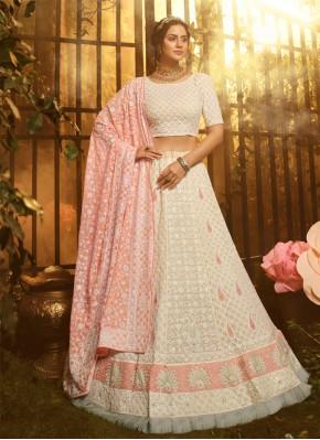 Exotic Georgette Resham White Designer Lehenga Choli