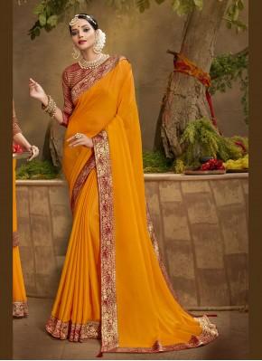 Exotic Patch Border Mustard Chanderi Traditional Designer Saree