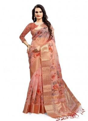 Exotic Pink Organza Printed Saree