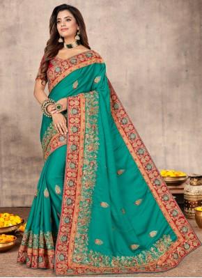 Exotic Resham Satin Rama Classic Designer Saree