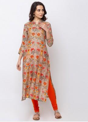 Exquisite Digital Print Silk Designer Kurti