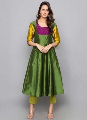Exquisite Fancy Art Silk Green Party Wear Kurti
