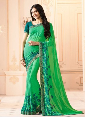 Exquisite Multi Colour Abstract Print Faux Georgette Printed Saree