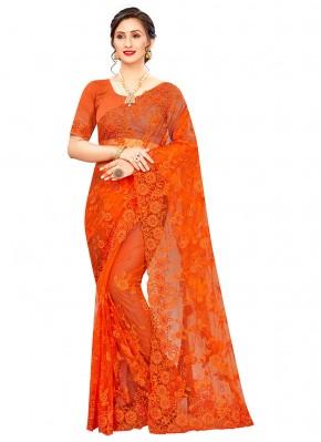 Exquisite Net Orange Classic Saree