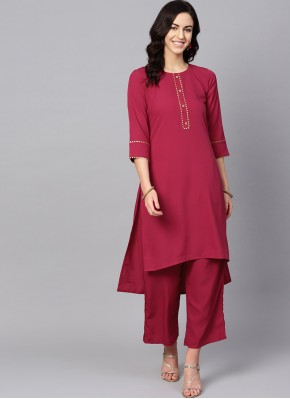Exquisite Pink and Red Plain Casual Kurti