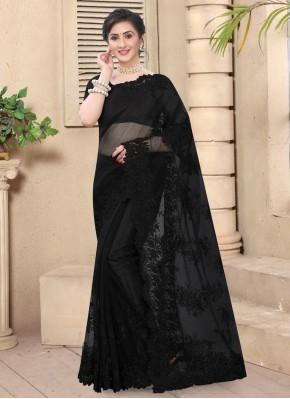 Exquisite Resham Black Designer Saree