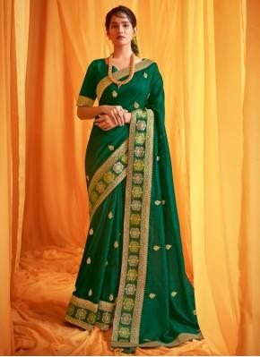 Exquisite Silk Green Traditional Designer Saree