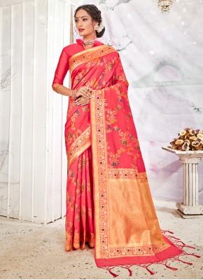 Exquisite Weaving Pink Banarasi Silk Traditional Saree