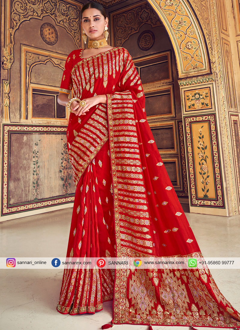 Exquisite Zari Red Traditional Designer Saree