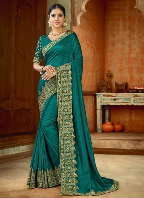Extraordinary Teal Embroidered Contemporary Saree