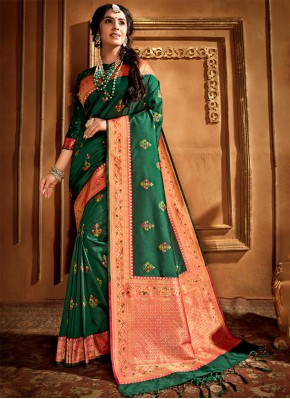 Extraordinary Weaving Silk Green Traditional Designer Saree