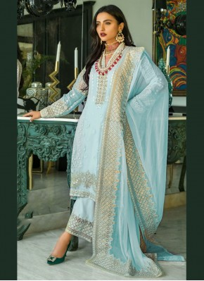 Exuberant Blue Embroidered Faux Georgette Designer Pakistani Salwar Suit