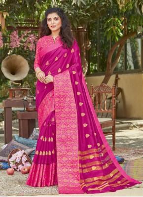 Exuberant Magenta Ceremonial Designer Traditional Saree