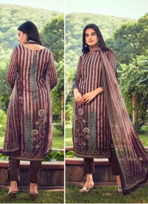 Exuberant Pashmina Brown Designer Straight Suit