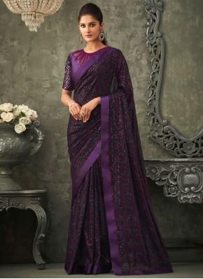 Exuberant Purple Embroidered Georgette Classic Saree