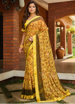 Eye-Catchy Abstract Print Multi Colour Printed Saree