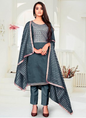 Eye-Catchy Chanderi Festival Pant Style Suit