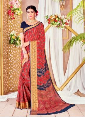 Eye-Catchy Digital Print Faux Chiffon Multi Colour Printed Saree