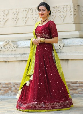 Eye-Catchy Georgette Green and Maroon Mirror Work Readymade Lehenga Choli