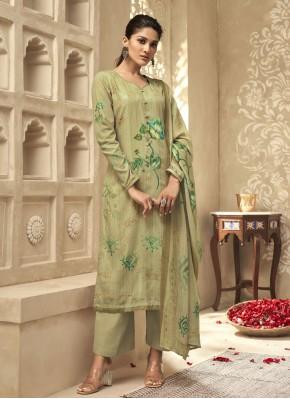 Eye-Catchy Green Embroidered Satin Silk Designer Palazzo Salwar Kameez