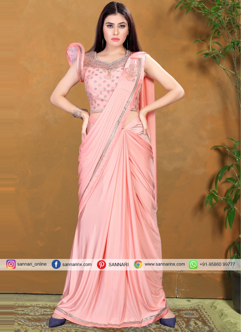 Eye-Catchy Pink Sequins Lycra Classic Saree