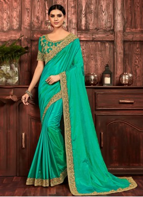 Eye-Catchy Poly Silk Sea Green Embroidered Designer Traditional Saree