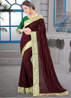 Eye-Catchy Silk Brown Classic Saree