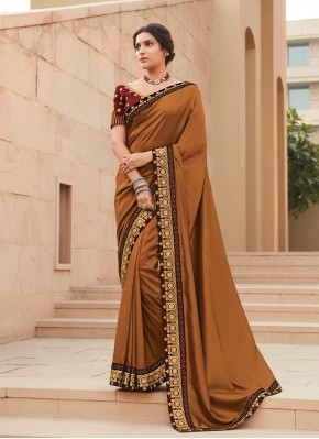 Eye-Catchy Silk Brown Lace Bollywood Saree