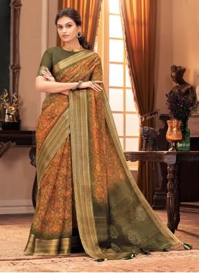 Eye-Catchy Silk Green and Mustard Designer Traditional Saree