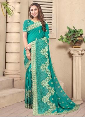 Eye-Catchy Silk Stone Designer Saree