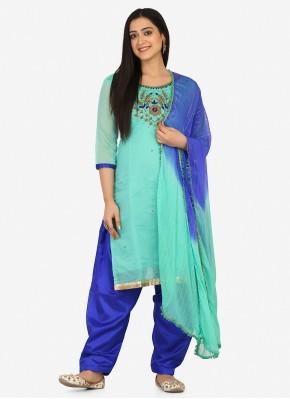 Fab Aqua Blue Embroidered Patiala Suit