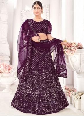 Fab Embroidered Net Purple A Line Lehenga Choli