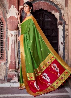Fab Fancy Fabric Weaving Green Designer Traditiona