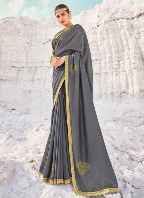 Fab Lace Vichitra Silk Grey Traditional Designer Saree