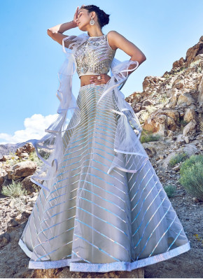 Fab Off White Color Fancy Net Fabric Designer Lehenga Choli