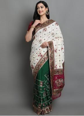 Fab Patola Print Mehndi Designer Traditional Saree
