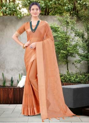 Fab Peach Stone Work Chiffon Satin Designer Traditional Saree
