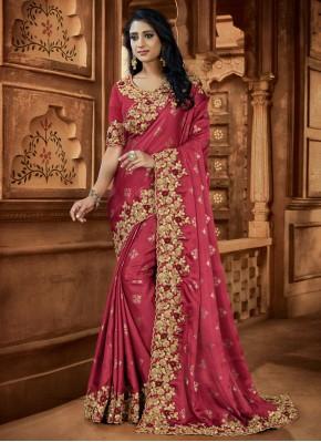 Fab Pink Satin Classic Designer Saree