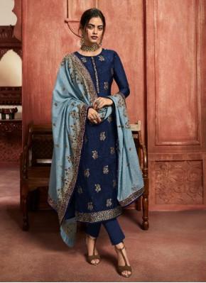 Fab Resham Blue Pant Style Suit