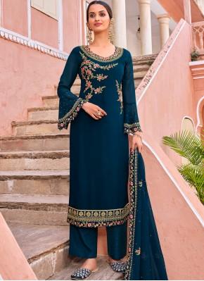 Fab Resham Georgette Navy Blue Trendy Salwar Kameez