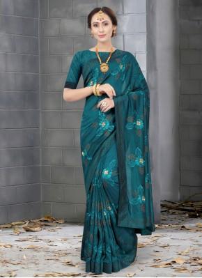Fab Silk Green Resham Designer Traditional Saree