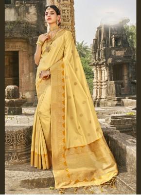 Fab Yellow Mehndi Designer Traditional Saree